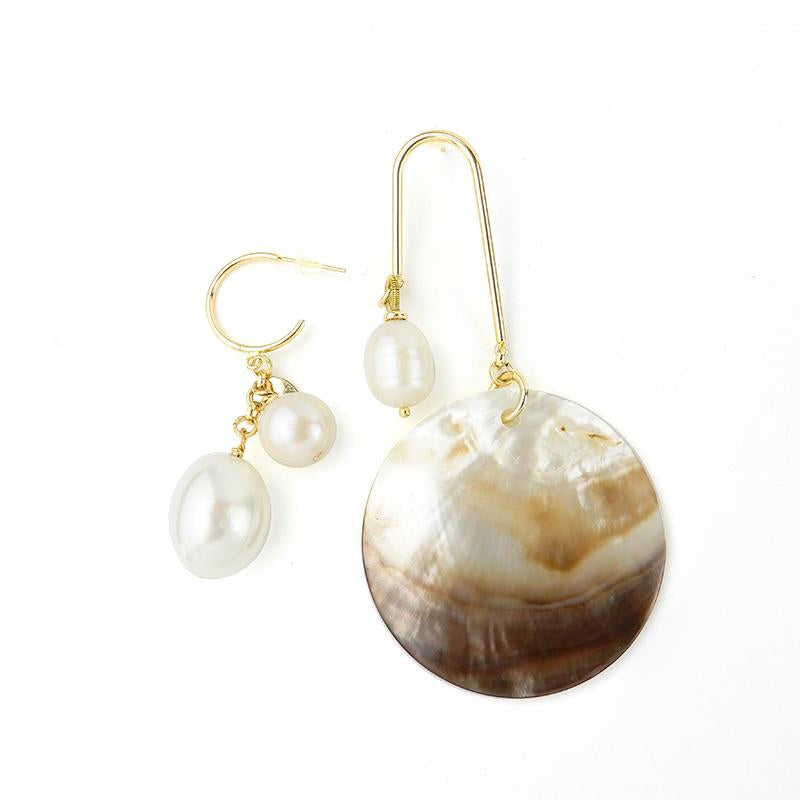 Discount Handmade Sea Shell Pearl Asymmetrical Earring