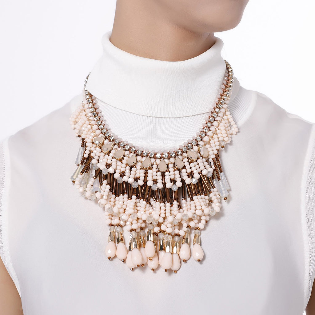 Three Layered Fringe Statement Necklace