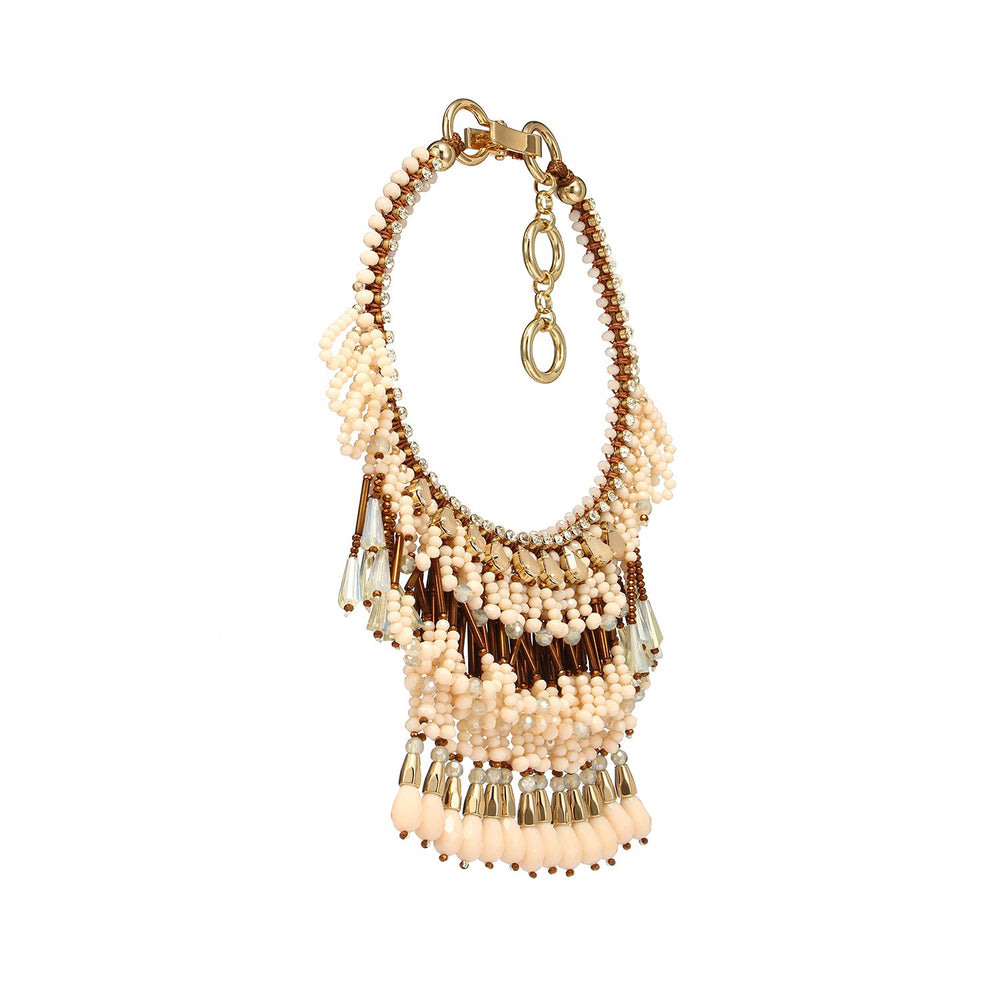 Handmade Luxurious Three Layered Fringe Statement Necklace