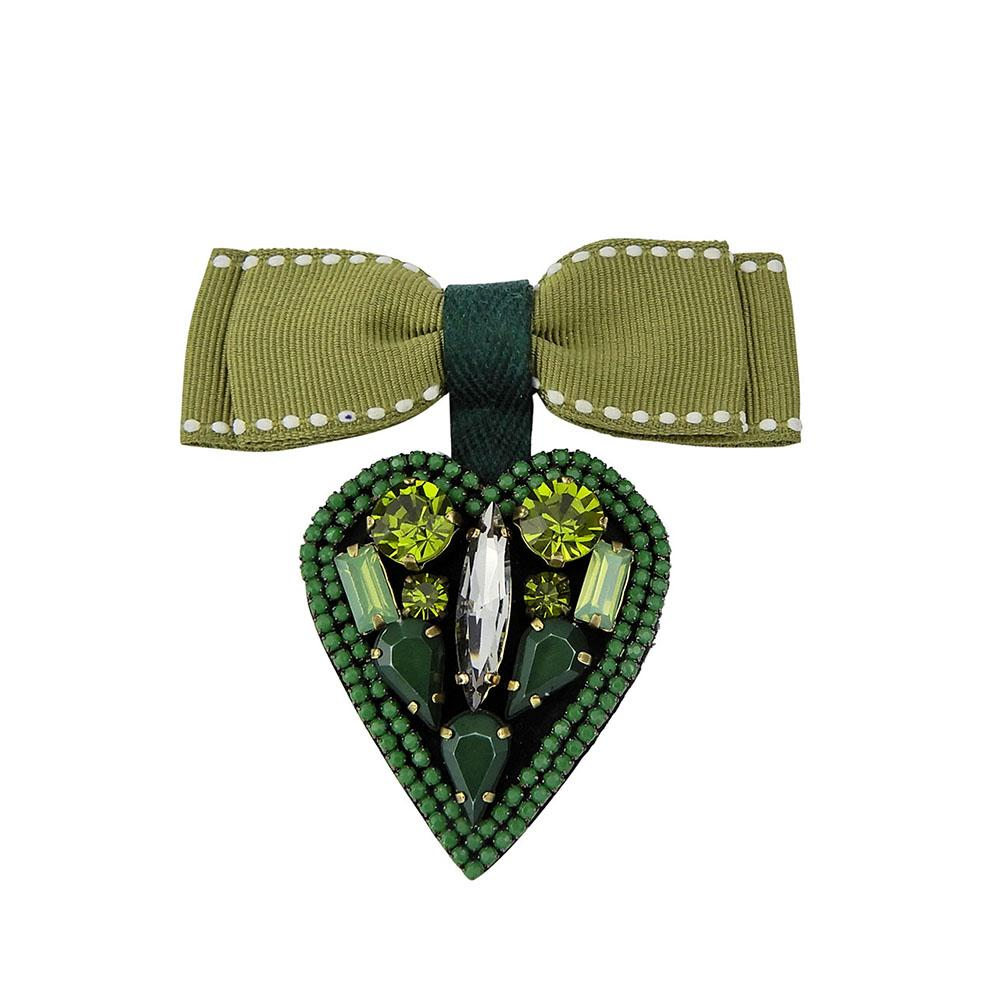 Guanajuato Heart Shape Ribbon Bow Handmade Brooch