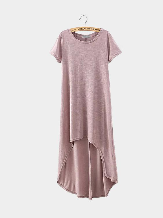 Crew Neck Short Sleeve Curved Hem Pink Shirt Dresses