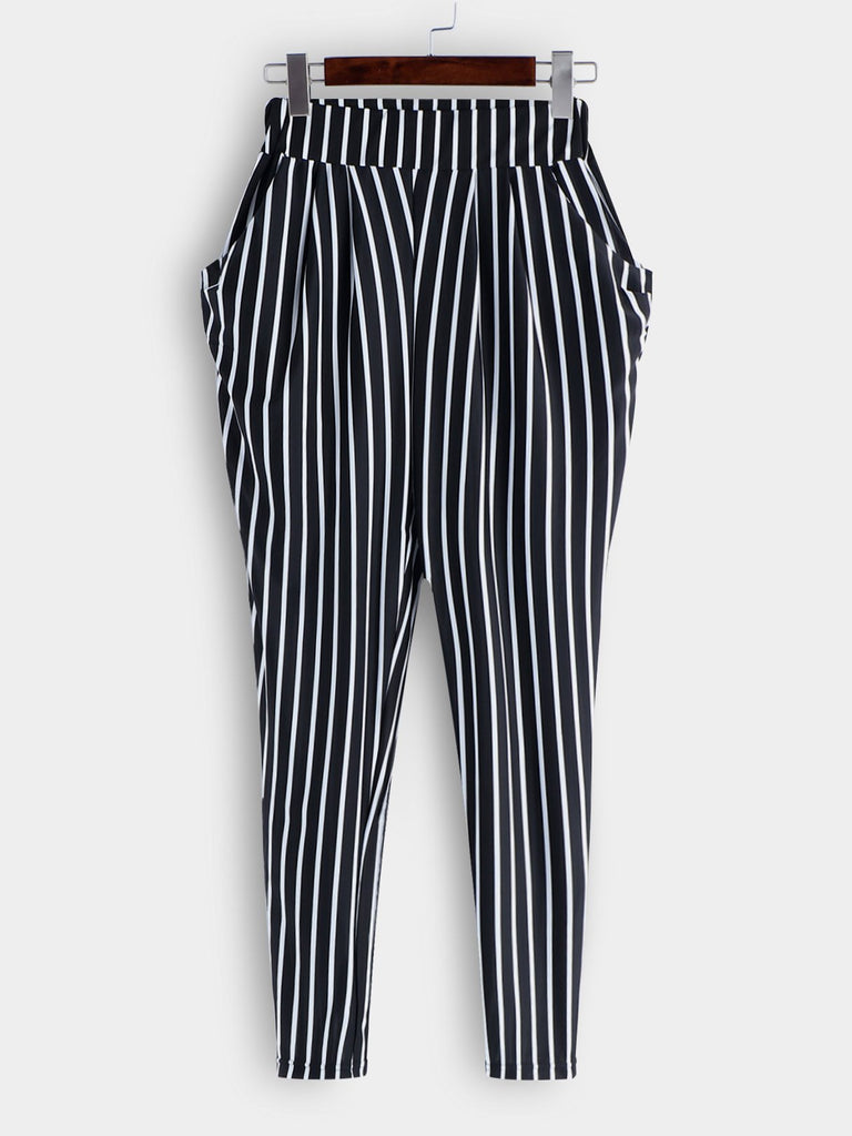 Stripe High-Waisted Plus Size Bottoms