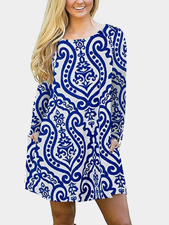 Round Neck Long Sleeve Printed Blue Mini Dress