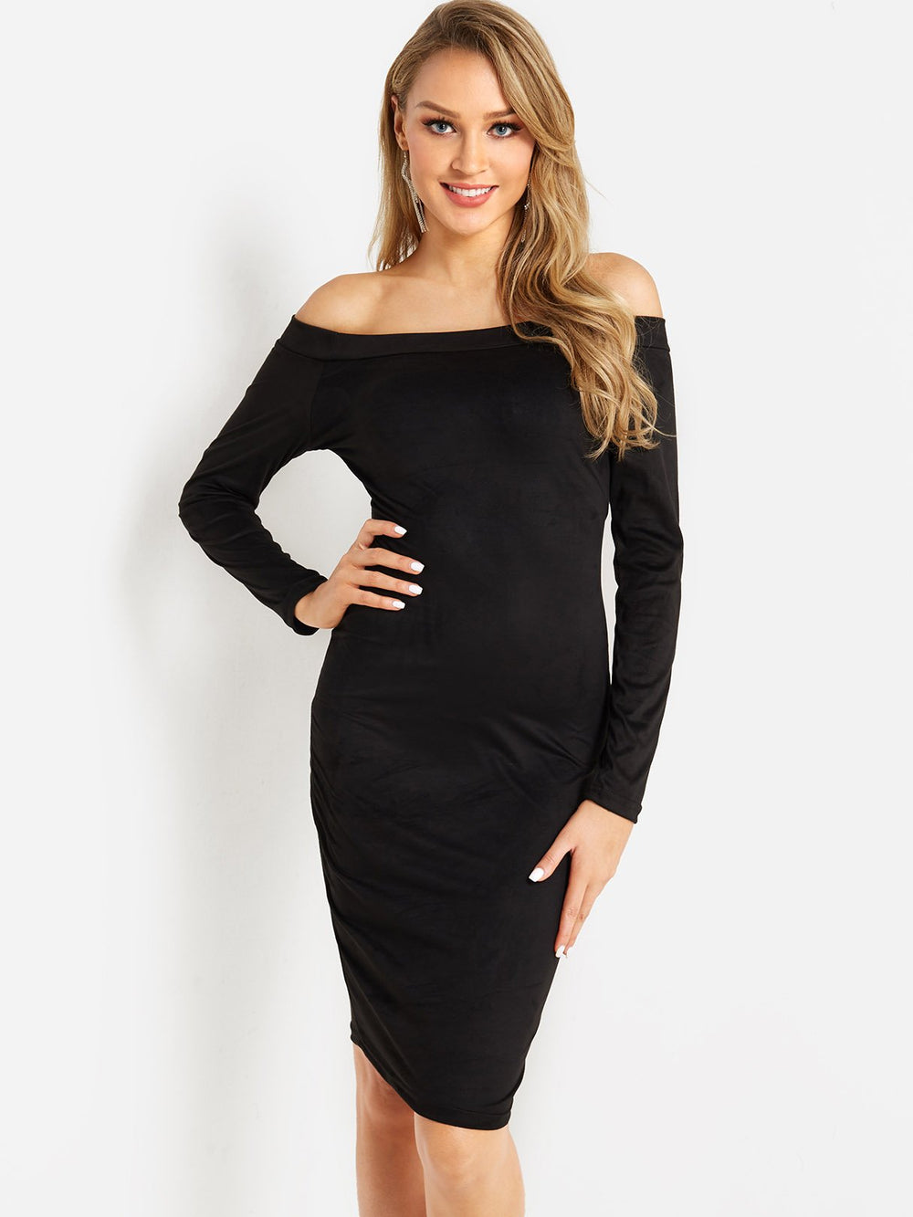 Off The Shoulder Long Sleeve Bodycon Hem Black Dresses
