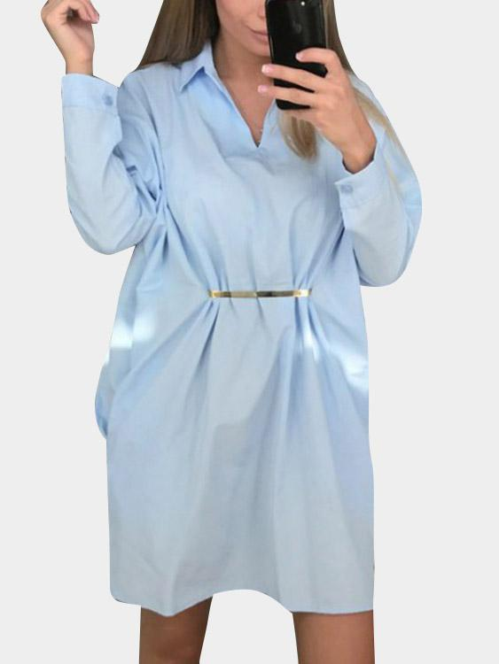 Classic Collar Plain Long Sleeve Blue Shirt Dresses