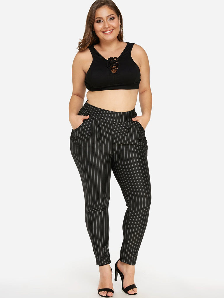 Skinny Stripe Black Plus Size Bottoms