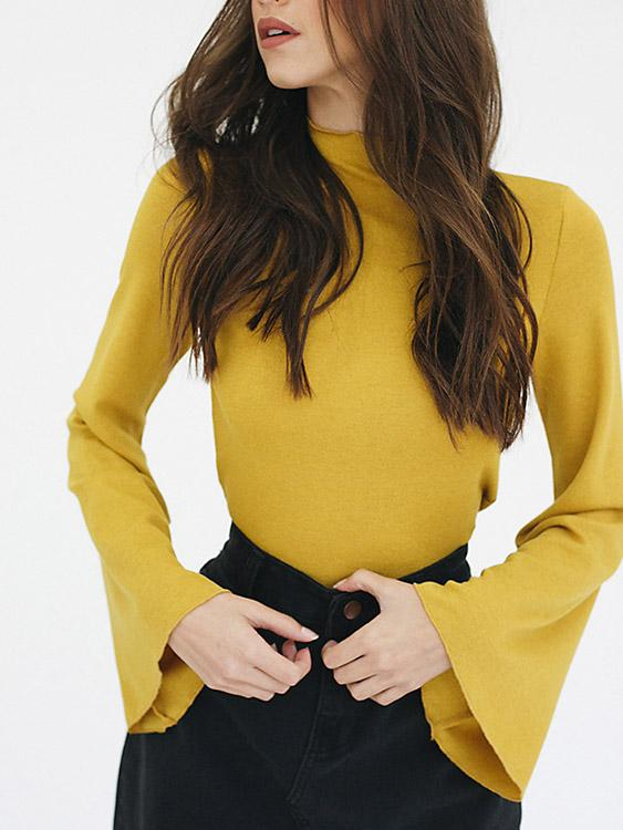 Chimney Collar Plain Long Sleeve Yellow T-Shirts
