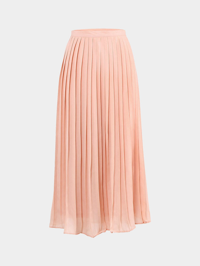 Ruffle Hem Pink Plus Size Pleated Midi Skirt