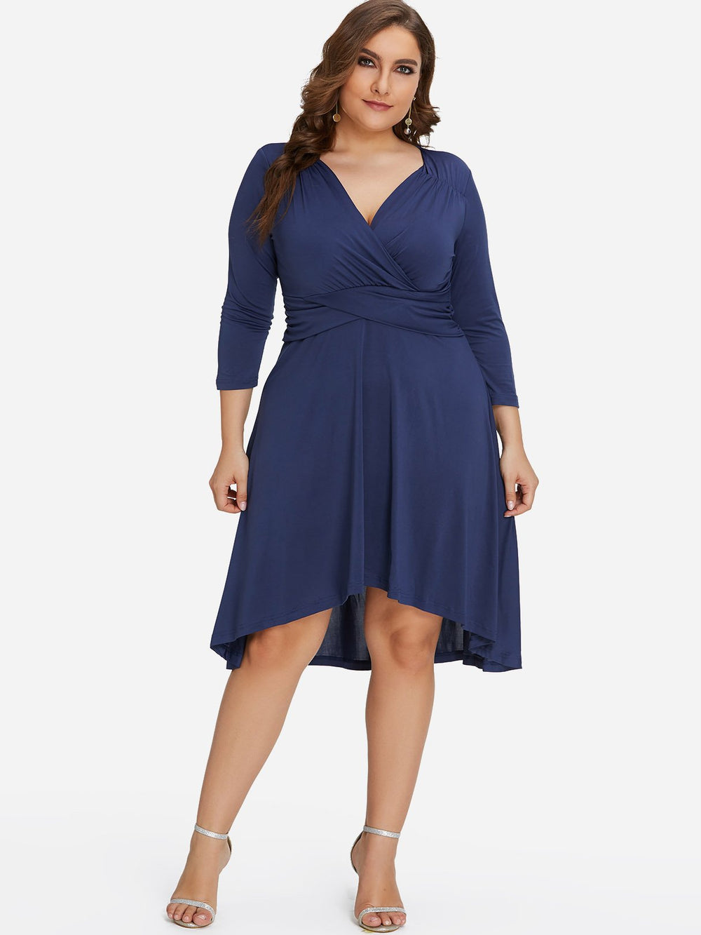V-Neck Plain Wrap 3/4 Sleeve High-Low Hem Plus Size Dress
