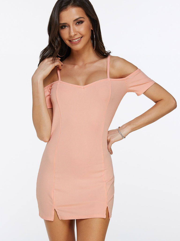 Pink Off The Shoulder Short Sleeve Slit Hem Mini Dress