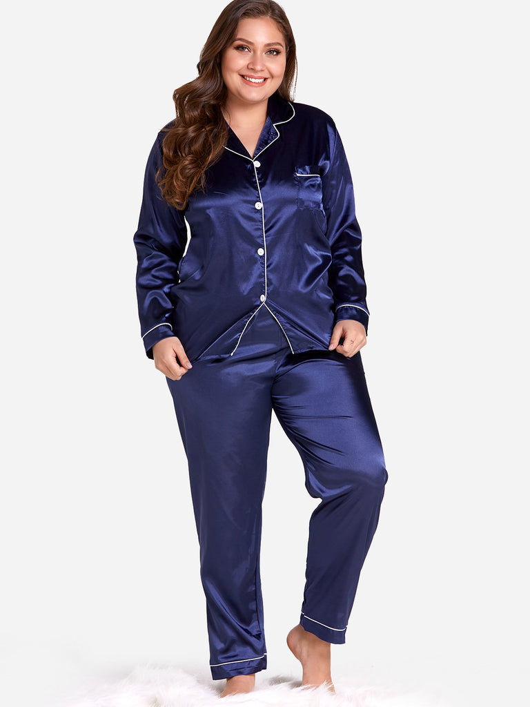 Plus Size Button Design Pajamas Set