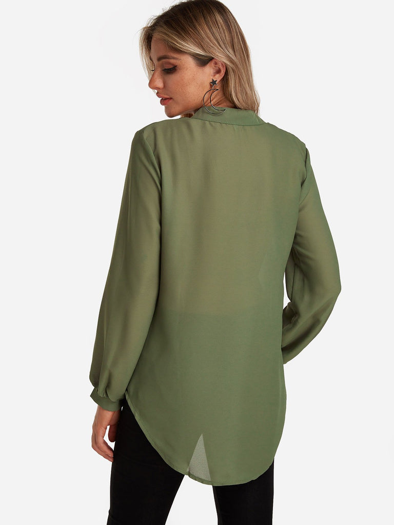 Womens Army Green Blouses
