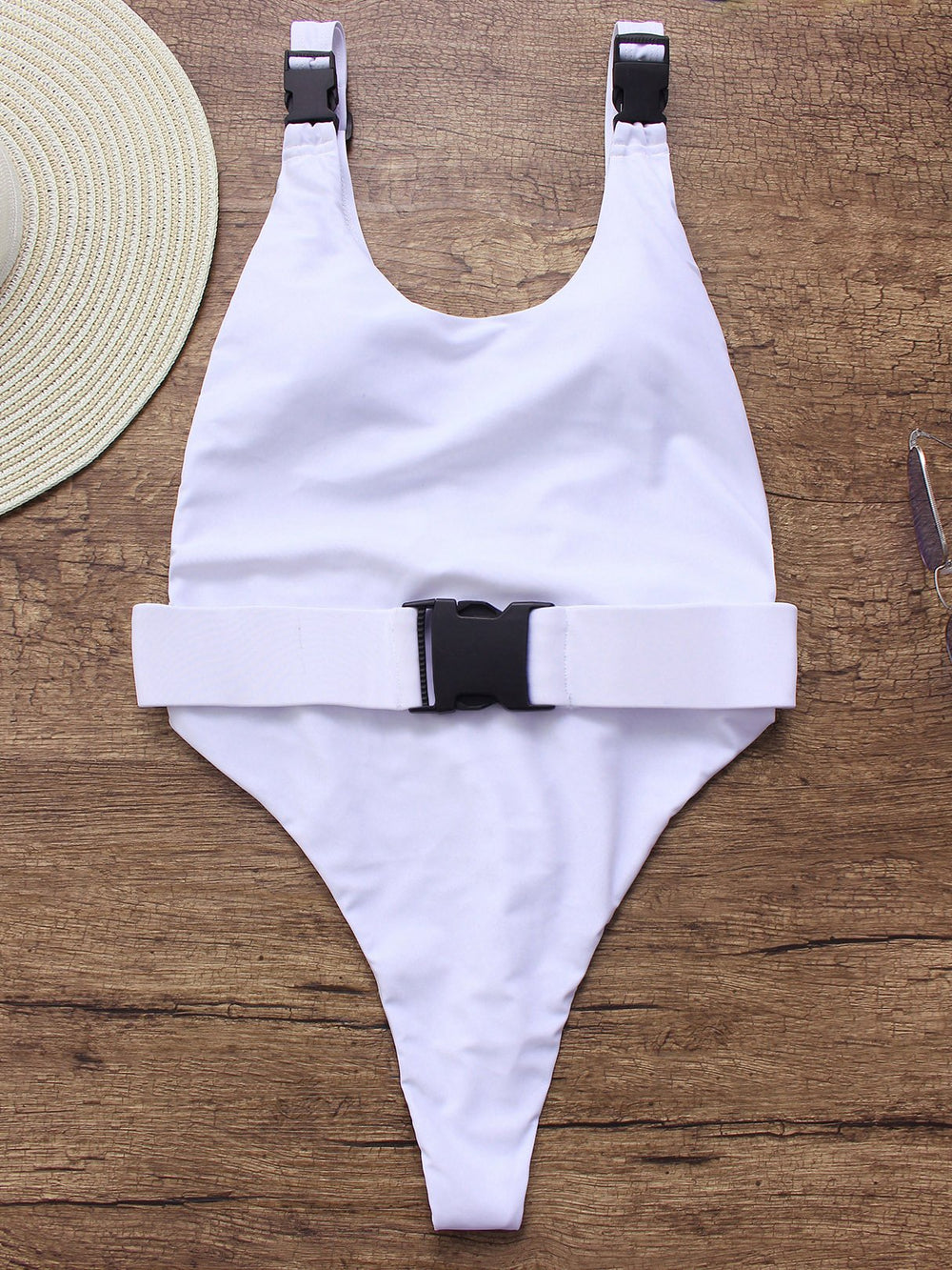 White Scoop Neck Sleeveless High Waist One-Pieces