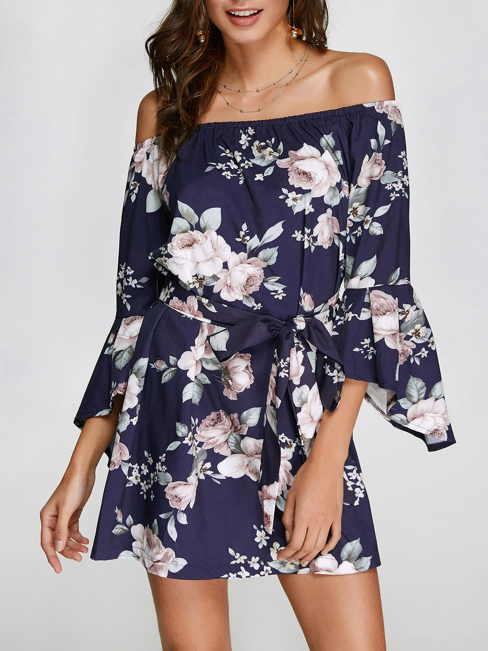 Off The Shoulder Floral Print 3/4 Length Sleeve Dresses