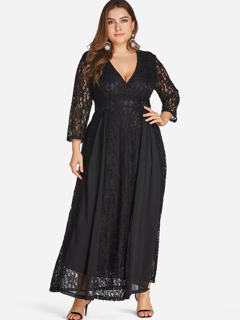 V-Neck Wrap Long Sleeve Plus Size Dress