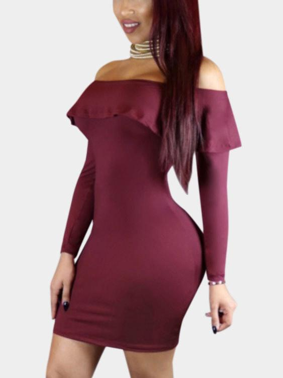 Burgundy Off The Shoulder Long Sleeve Plain Dresses