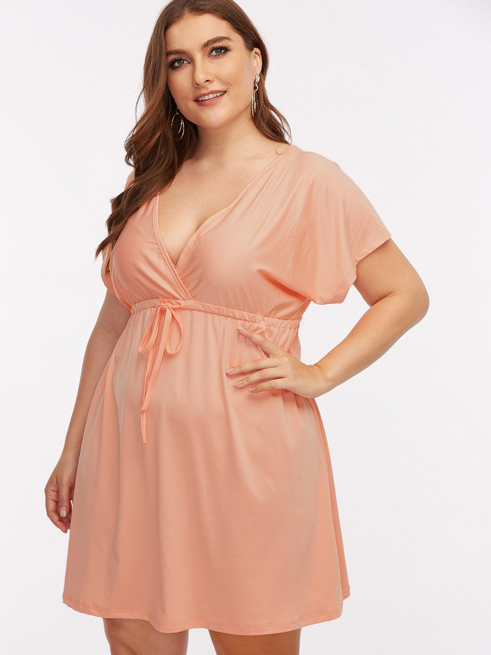 V-Neck Plain Short Sleeve Flounced Hem Light Pink Plus Size Dresses