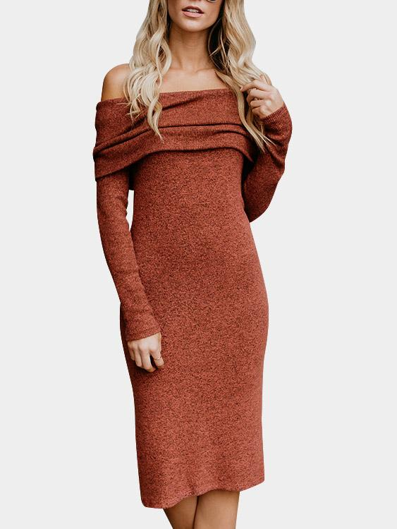 Off The Shoulder Plain Long Sleeve Slit Hem Orange Sexy Dresses