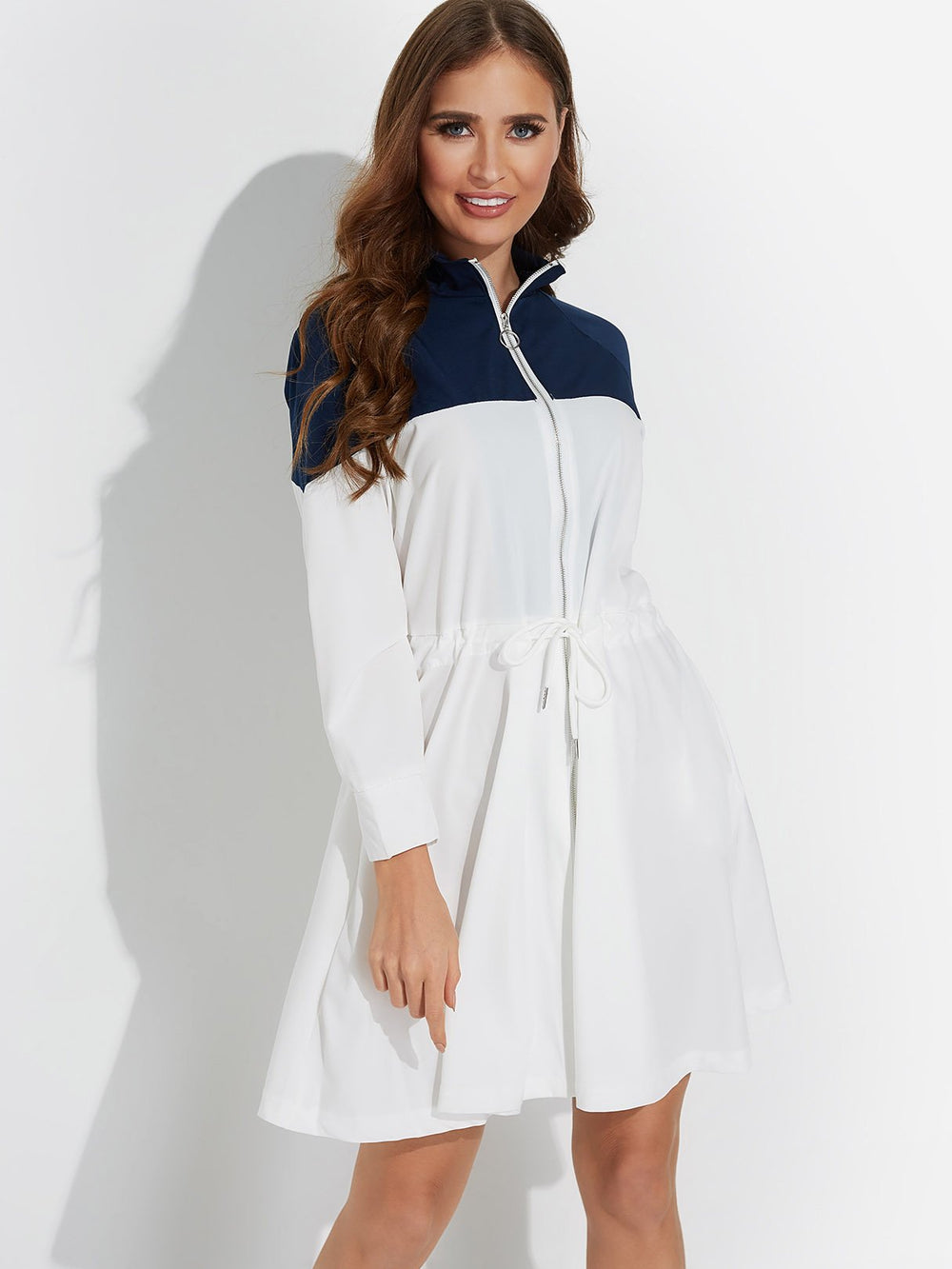 White Pullover Long Sleeve Zip Back Casual Dresses