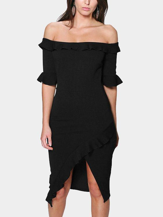 Off The Shoulder Plain Half Sleeve Black Dresses