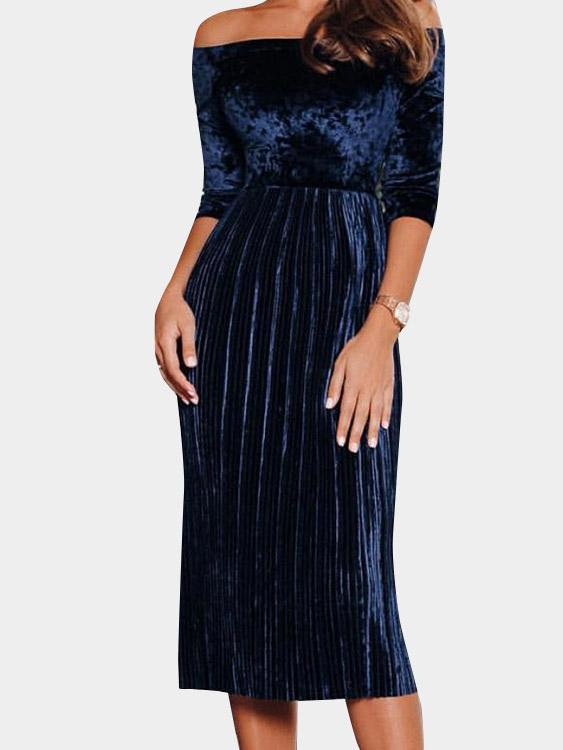 Womens Blue Off The Shoulder Dresses