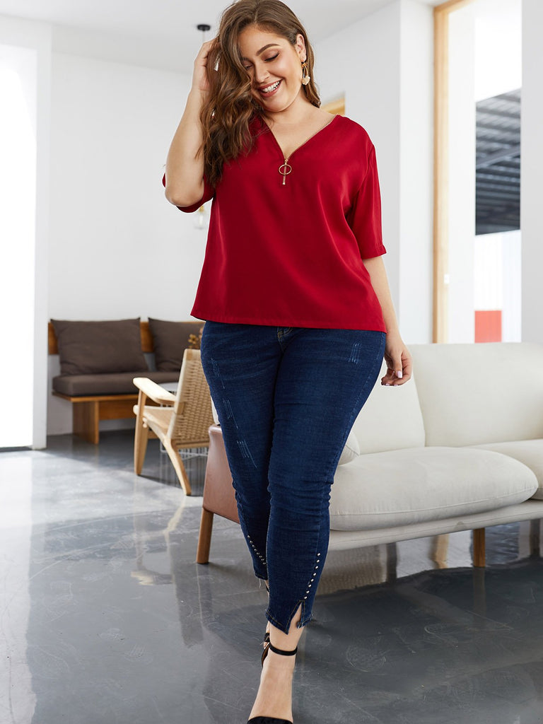 Womens Burgundy Plus Size Tops