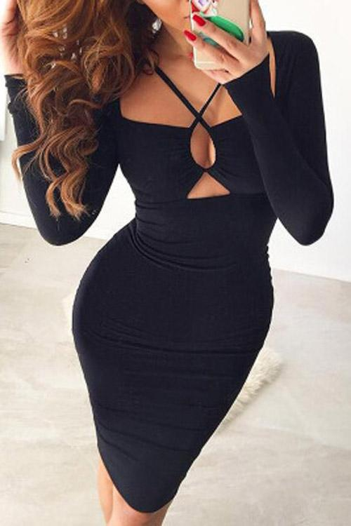 Long Sleeve Black Dresses