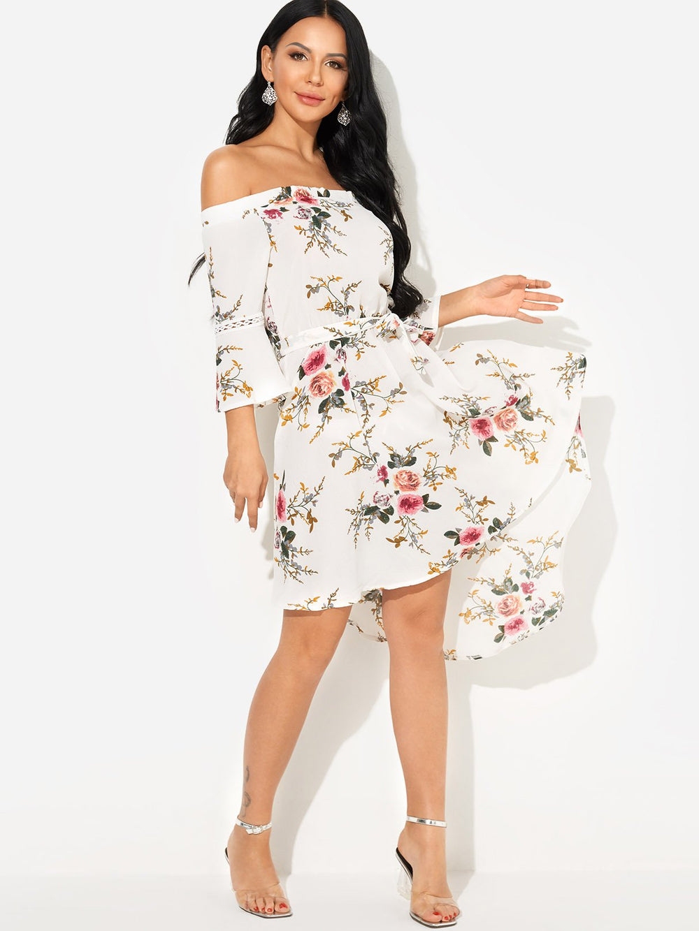 Ladies White Floral Dresses