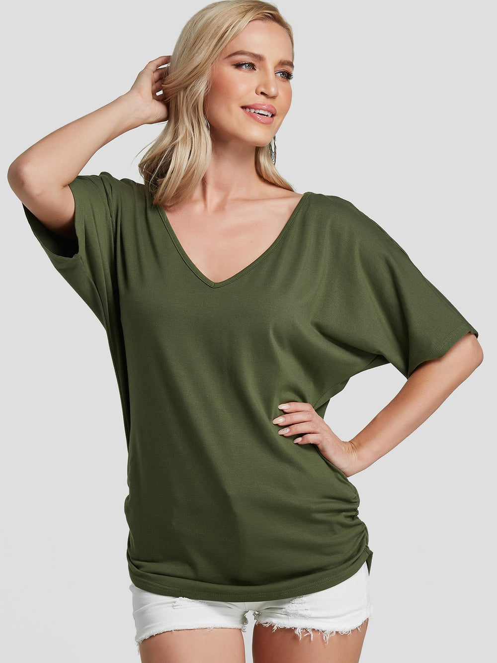 Ladies Army Green T-Shirts