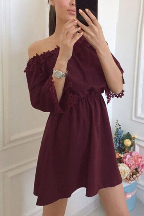 Off The Shoulder Lace Half Sleeve Burgundy Mini Dress