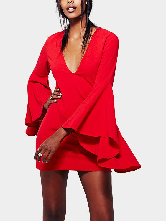 V-Neck Long Sleeve Red Sexy Dresses