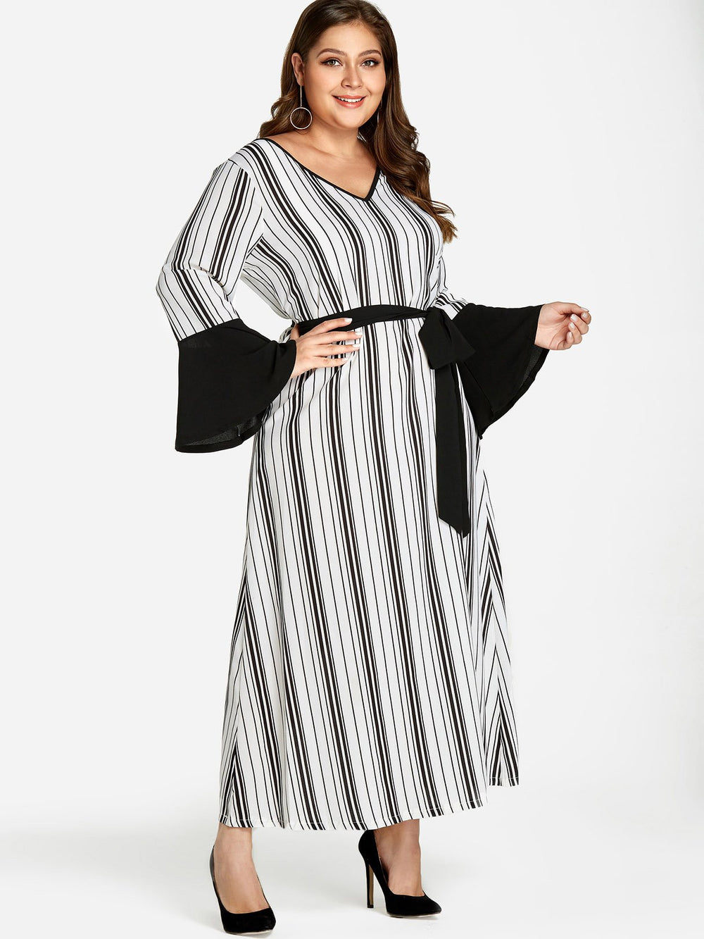 Ladies Striped Plus Size Dresses
