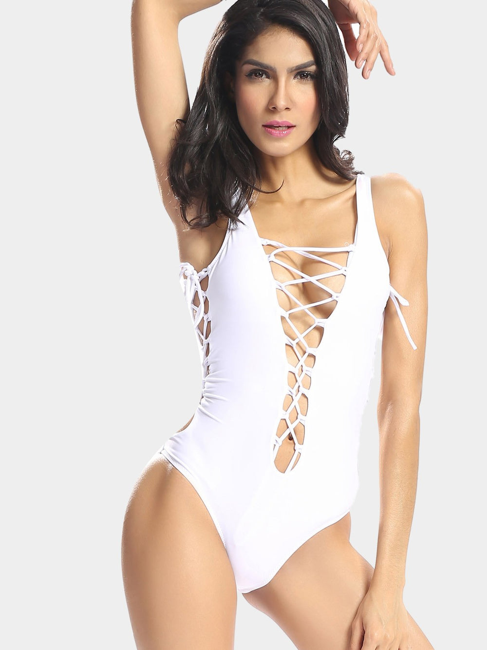 White V-Neck Sleeveless One-Pieces