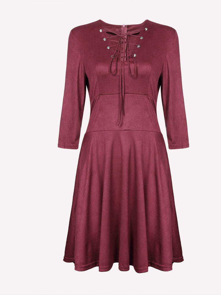V-Neck Lace-Up 3/4 Length Sleeve Plum High Waist Casual Dresses