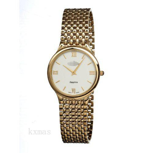 Elegant Gold Tone Stainless Steel 18 mm Replacement Watch Band C4363-2_K0010485