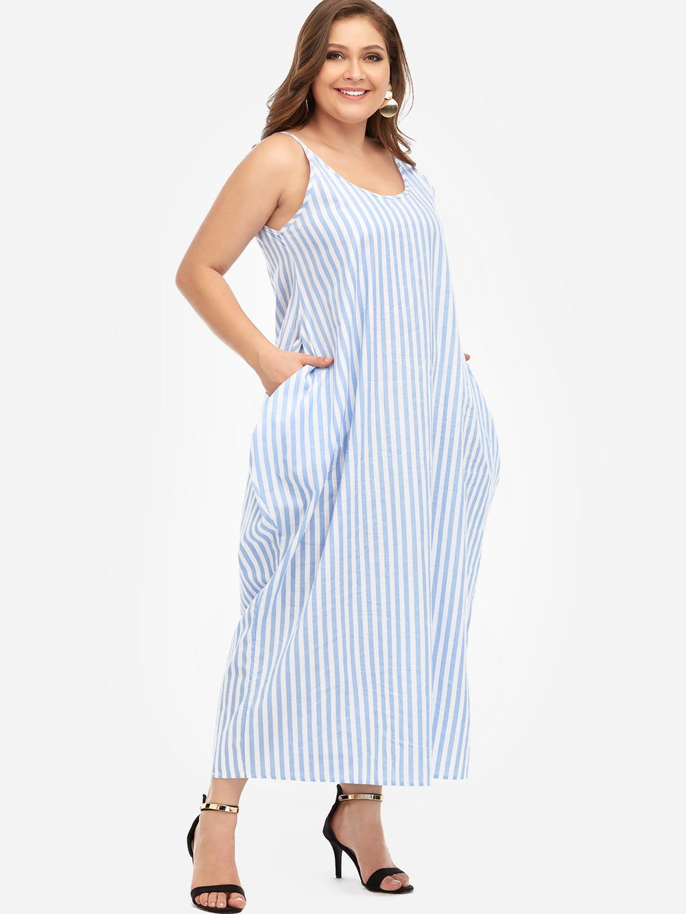 V-Neck Stripe Spaghetti Strap Sleeveless Plus Size Maxi Dresses