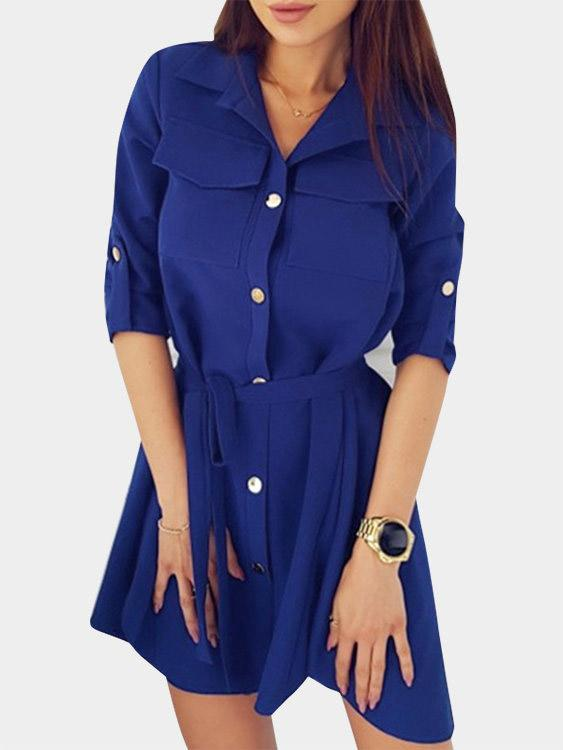 Classic Collar Plain Lace-Up Long Sleeve Curved Hem Blue Shirt Dresses
