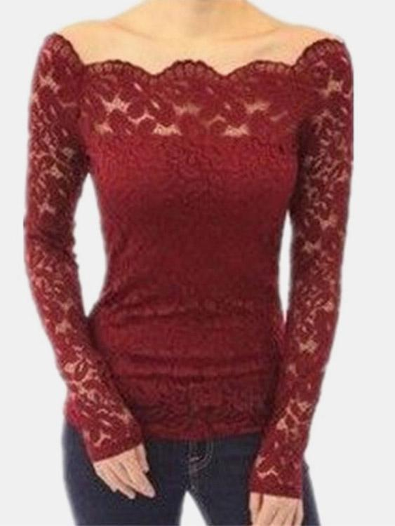Off The Shoulder Lace Long Sleeve T-Shirts