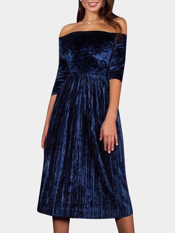 Off The Shoulder Pleated Half Sleeve Blue Dress