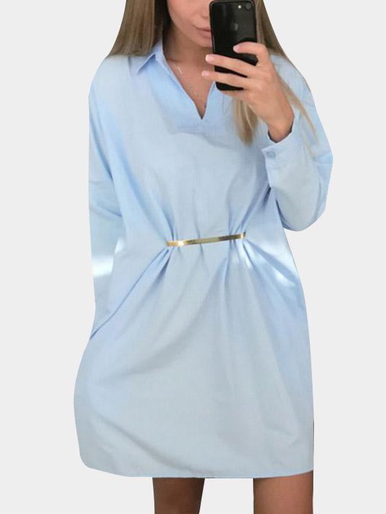 Womens Blue Shirt Dresses