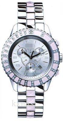 Budget Wrist Polished Steel Case And With Pink Sapphire Crystals Wristwatch Strap CD114315M001_K0013092