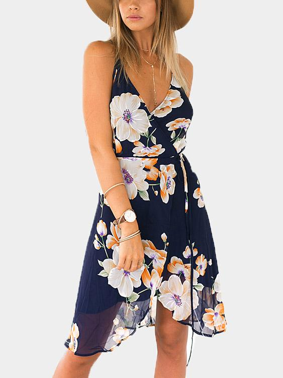 V-Neck Floral Print Backless Spaghetti Strap Dresses