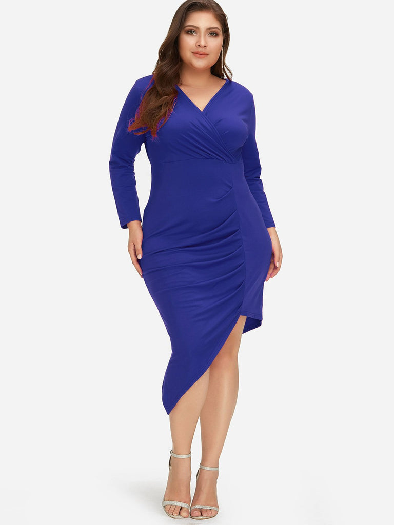V-Neck Plain Wrap Long Sleeve Irregular Hem Blue Plus Size Dress