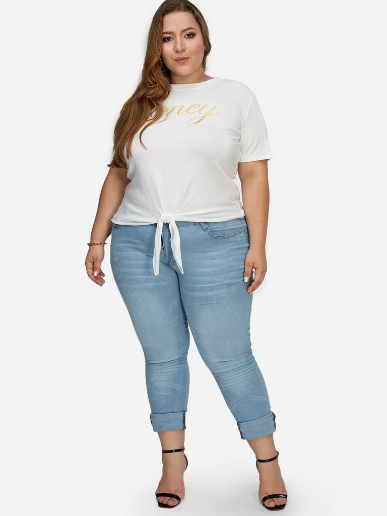 Plain Zip Back Sky Blue Plus Size Bottoms