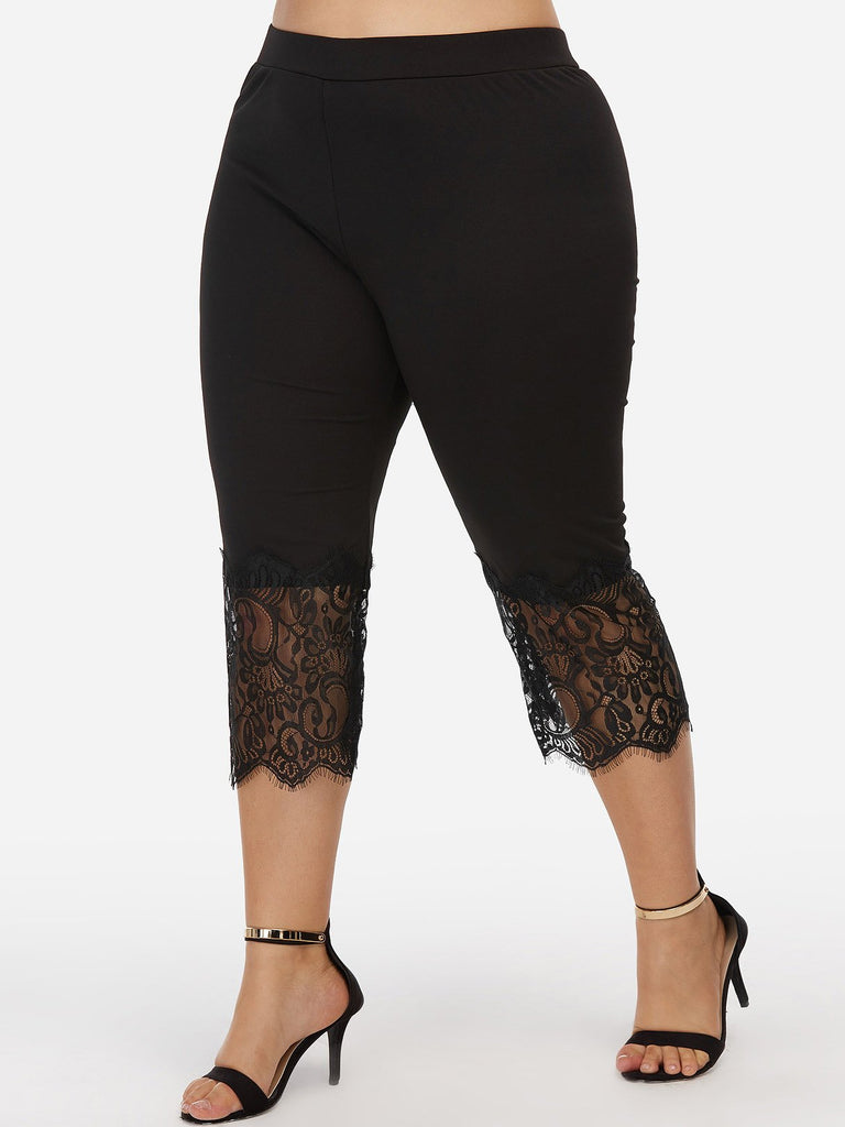 Plain Lace Black Plus Size Bottoms