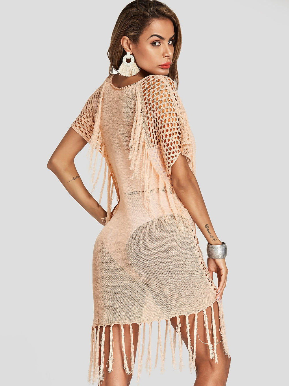 Womens Light Pink Cover-Ups