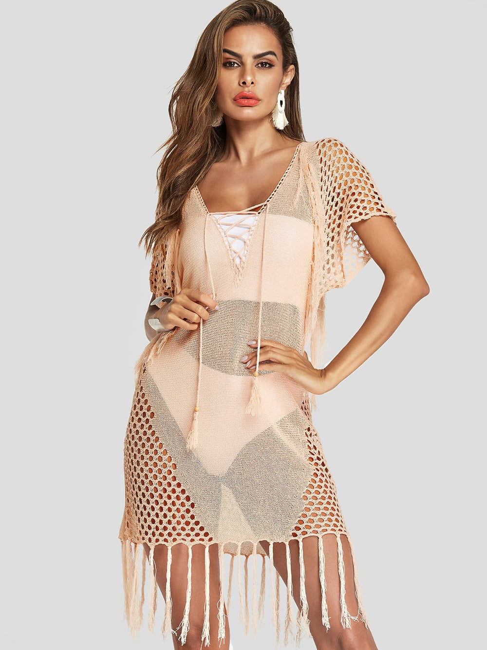 V-Neck Tassel Hollow Short Sleeve Light Pink Beachwear