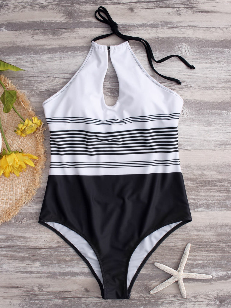 White Halter Sleeveless Stripe Backless Hollow One-Pieces