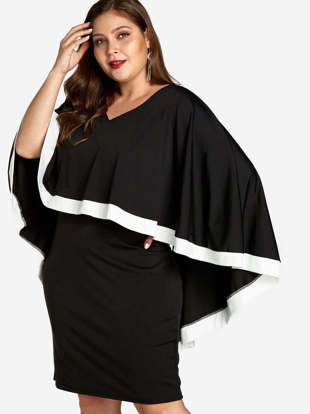 V-Neck Plain Tiered Long Sleeve Plus Size Dress