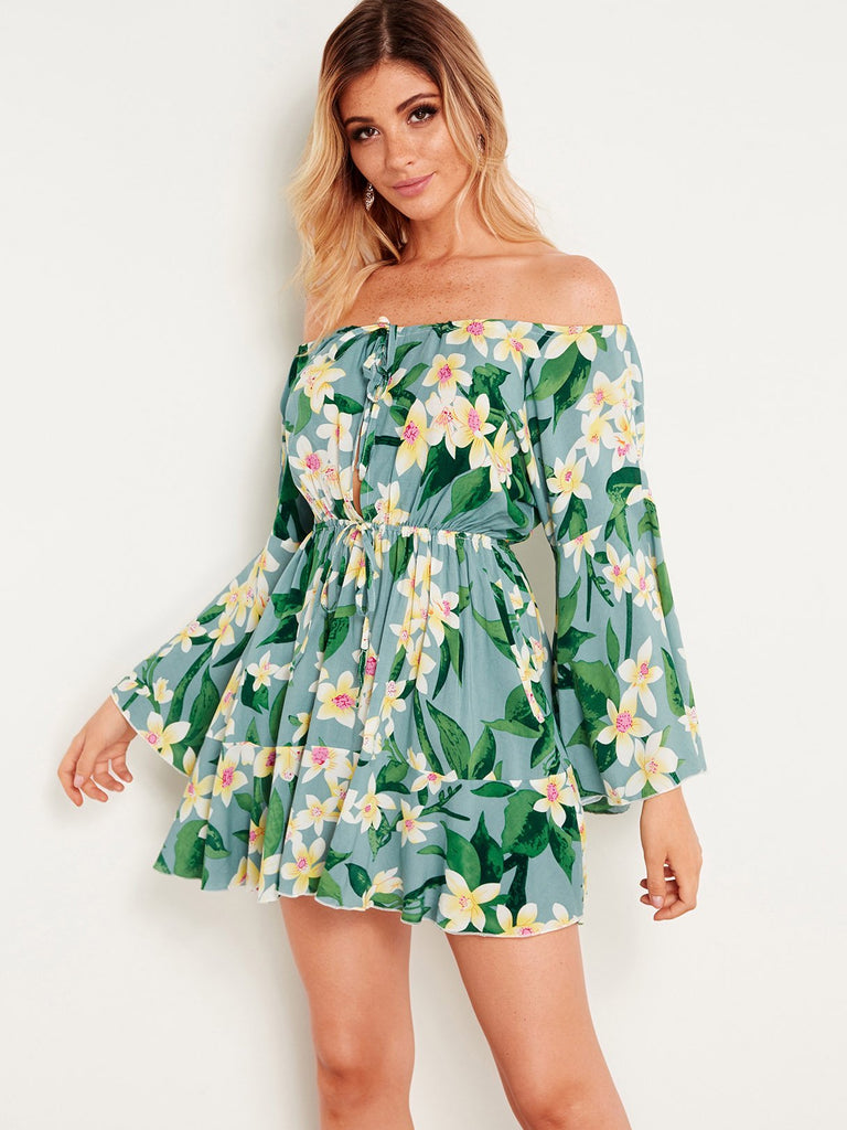 Green Off The Shoulder Long Sleeve Floral Print Cut Out Self-Tie Dresses